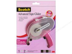 """Choose Scotch Advanced Tape Glider and its refills as your adhesive applicator of choice for scrapbooking, card making, invitations and other paper crafting projects. A touch of the finger triggers quick, controlled application of tape. No mess or clean-up. Saves time and effort. Applies tape while simultaneously removing and rewinding the liner. Refills are available in Acid Free and General Purpose. with 2 Acid Free Tapes Pink- Package contains Pink dispenser with 2 rolls (each 1/4"""" wide…"""