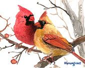 Items similar to ACEO Limited Edition Cardinal pair, Art print of an ACEO original watercolor by Anna Lee, Gift idea for bird lovers & Housewarming on Etsy Watercolor Bird, Watercolor Paintings, Watercolor Portraits, Watercolor Landscape, Abstract Paintings, Animal Paintings, Bird Paintings, Indian Paintings, Bird Pictures