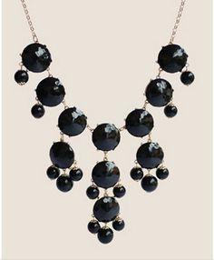 Handmade Bubble Necklace - Bib Necklace- Statement Necklace--Black
