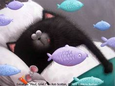 Cat dreaming with fish, mouse, by Rob Scotton