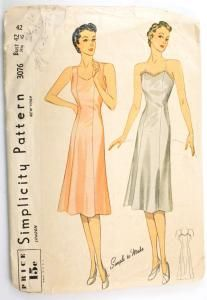 Simplicity 3076 Vintage 1930s Slip Pattern Bust 42 Princess Line Sewing Pattern $14.99 This slip will improve the fit of your dresses. It has a shaped neckline, is fitted and flares slightly. Style I is lace trimmed, with narrow shoulder straps. Style II has broad straps, cut in one with side front.