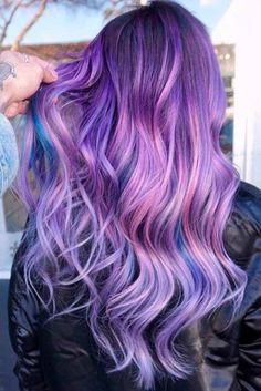 Lavender Purple Hair Color Highlights longhair wavyhair highlights lila Haar 70 Tempting and Attractive Purple Hair Looks Hair Color Shades, Hair Color Purple, Purple Ombre, New Hair Colors, Cool Hair Color, Violet Hair Colors, Ombre Hair, Color Del Pelo, Lavender Hair