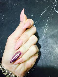 #stiletto nails #chrom #rose