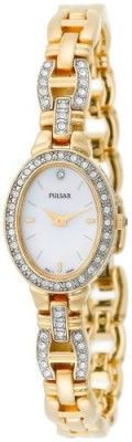 Relógio Pulsar Women's PEGA62 Crystal Dress Gold-Tone Mother-of-Pearl Watch #Relogios #Pulsar
