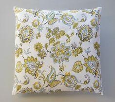 Floral Print Decorative Pillows Green Blue Grey