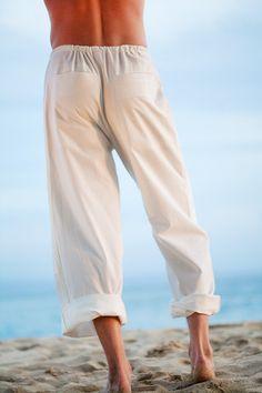 Kundalini Yoga Pants for Men, Loose-Fit, 100% Cotton, White - Island Importer