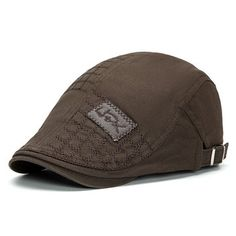 Men Women Patch Embroidered Cotton Beret Hat Casual Outdoor Sunshade Cabbie Cap Adjustable