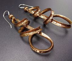 Signed Artisan GUILLERMO ARREGUI Taxco Mexico Twisted Copper EARRINGS #TAXCO