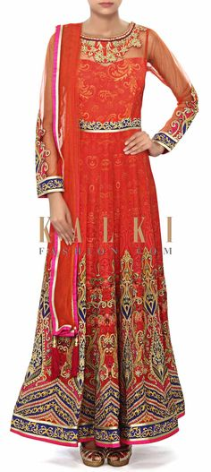 Buy Online from the link below. We ship worldwide (Free Shipping over US$100) Price- $559 Click Anywhere to Tag http://www.kalkifashion.com/coral-anarkali-suit-enhanced-in-digital-print-only-on-kalki.html
