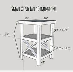 Free plans for a tall and skinny X end table with 2 shelves. Build this table… Pallet Furniture, Furniture Projects, Furniture Plans, Home Projects, Cheap Furniture, Office Furniture, Bedroom Furniture, Small End Tables, Diy End Tables
