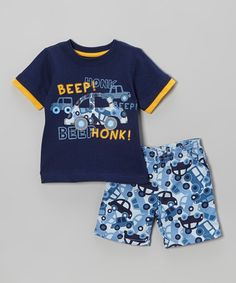 Look what I found on #zulily! Blue 'Beep! Honk!' Tee & Cars Shorts - Infant, Toddler & Boys #zulilyfinds