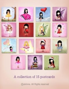 A set of 15 postcards collection Christmas cards by jolinne, $19.00