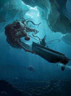 The Cthulhu Wars Artwork. Gotta love that moment when you GM a game of Cthulhu and your players find out that the heavy artillery won't do diddley and they shou Hp Lovecraft, Lovecraft Cthulhu, Cthulhu Art, Cthulhu Tattoo, Call Of Cthulhu Rpg, Arte Horror, Horror Art, Dark Fantasy, Fantasy Art