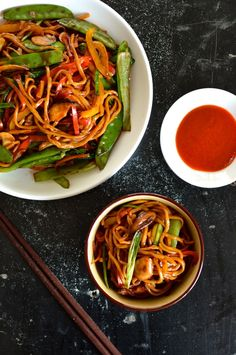 Vegetable Lo Mein, by thewoksoflife.com (You can add cooked chicken) YUMMY