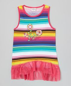 Look what I found on #zulily! Pink & Yellow Stripe Skirted Tank - Infant, Toddler & Girls #zulilyfinds