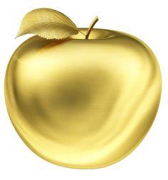 Apple. 3D. Gold apple