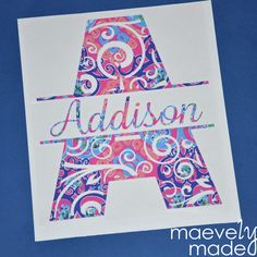 Lilly Pulitzer Swirlygirl Design  Initial & Name by maevelymade