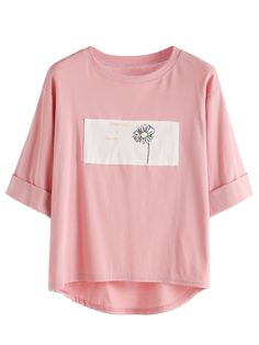 Shop Rolled Sleeve Daisy Print High Low T-shirt online. SheIn offers Rolled Sleeve Daisy Print High Low T-shirt & more to fit your fashionable needs.