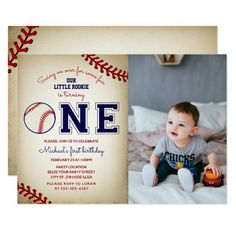 Shop Baseball First Birthday Photo Invitation created by MetroEvents. Personalize it with photos & text or purchase as is! Baseball First Birthday, Boys First Birthday Party Ideas, One Year Birthday, Sports Birthday, Baseball Party, First Birthday Photos, Art Birthday, Birthday Design, 1st Boy Birthday