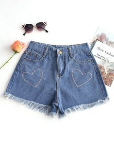 SHARE & Get it FREE | Heart Embroidered Frayed Hem Denim Shorts - Denim Blue MFor Fashion Lovers only:80,000+ Items • New Arrivals Daily Join Zaful: Get YOUR $50 NOW!