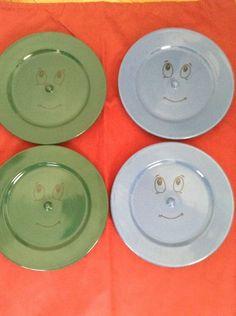 Lot Of 4 (2 Green/Blue) Kids Funny Face Dessert/Dinner Plate