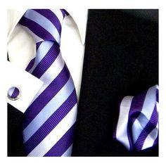 Amazon.com: Paul Malone Necktie, Pocket Square and Cuff links  Silk Silver-Purple