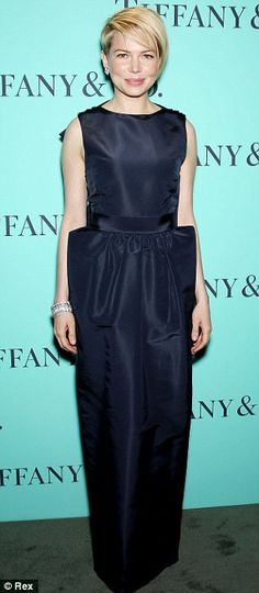 Elegant Michelle Williams wearing a Katie Ermilio gown at Tiffany's Blue Book Ball.