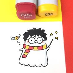 Guess where we are today! ⚡️✨ #可愛い #かわいい #harrypotter #doodle #hogwarts #spookymccute #copicmarker #kawaii #goldensnitch