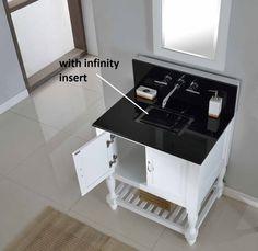 Mission Turnleg Spa Premium White Vanity with Black Granite