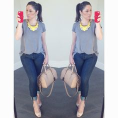 gray t-shirt; jeans pants; yellow necklace