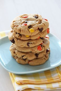 Giant Reese's Pieces Chocolate Chip Cookies. The ULTIMATE peanut butter lover's cookie! Stuffed with chocolate chips, peanut butter chips, and Reese's Pieces.