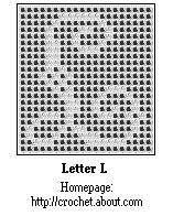Letter L of Checkered Alphabet Free Chart For Cross-Stitch or Filet