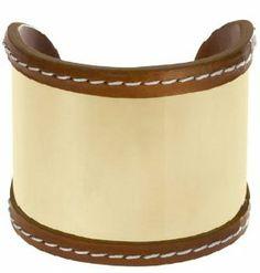 Michael Kors MKJ2063 Women's Gold Tone Stainless Steel Brown Leather Trimmed Cuff Bracelet Jewelry Michael Kors. $122.00