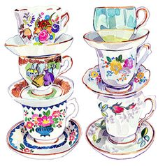 Holly Exley's Quirky Collections - teacups in watercolour