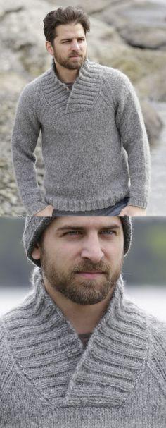 8 Free Men's Shawl Collar Sweater Knitting Pattern Mens Knit Sweater Pattern, Mens Knitted Cardigan, Mens Shawl Collar Sweater, Sweater Knitting Patterns, Men Sweater, Free Knitting, Art Minecraft, Outfits Casual, Sweaters