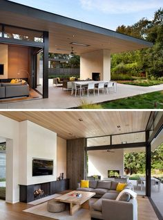 This modern house has been designed to enable indoor/outdoor living with the inclusion of sliding glass doors that open up the living room to the covered outdoor patio. This creates an easy flow from the patio, with its fireplace and lounge area, into the living room with a sectional sofa, wood paneling, and a TV that's been set back slightly into the wall.