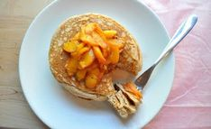Whole-Wheat Pancakes with Spiced Peach Compote