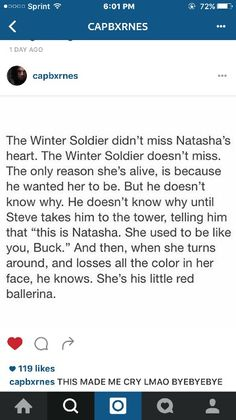 It's actual canon in the comics that Natasha was trained in the Red Room by the Winter Soldier. That's freaking adorable though. AaNnddd bucky and nat were married Marvel Funny, Marvel Memes, Marvel Dc Comics, Bucky And Natasha, Bucky And Steve, Avengers Superheroes, Marvel Avengers, Destiel, Johnlock