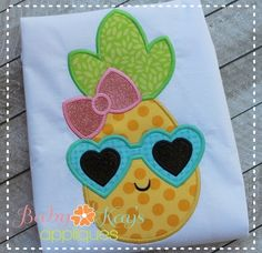 Pineapple Girl with Glasses - Baby Kay's Appliques Baby Girl Embroidery Ideas, Cute Embroidery, Embroidery Monogram, Machine Embroidery Applique, Free Machine Embroidery Designs, Embroidery Fonts, Applique Patterns, Applique Quilts, Applique Designs