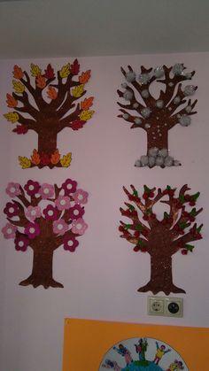 Four seasons tree Preschool Classroom, Classroom Decor, Preschool Activities, Kindergarten, Craft Stick Crafts, Diy And Crafts, Arts And Crafts, Paper Crafts, Toddler Chart