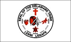 The flag of the Lenni Lenape (Oklahoma) is white with the tribal seal in red… Delaware Indians, Oklahoma Flag, Native American Flag, American Symbols, Aboriginal People, Indian Tribes, Nativity, Sisters, Native Americans