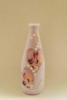 Artesanato com garrafa,Artesanato Passo a Passo, Como Fazer Artesanato,Garrafa de vidro,Decoupage,Casamento