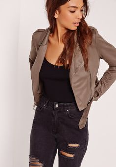 Missguided - Faux Suede Biker Jacket Brown