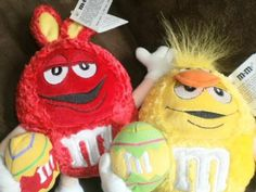 NEW! RARE, HTF EASTER M&M plush STUFFED TOYS red yellow NWT 2004!