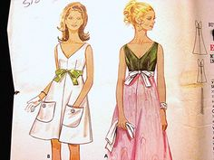 60s Vintage Dress Pattern Misses Evening by PatternsFromThePast, $18.50