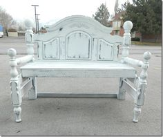 Black and White Distressed Headboard Bench.
