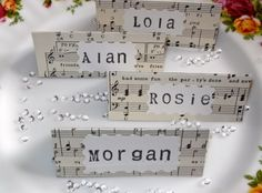 Beautiful Hand Crafted Music Themed Wedding Place Cards Vintage -Custom Order for Louise Beautiful Hand Crafted Music Themed Wedding Place Cards Vintage -Custom Order for Louise - Placecards using sheet music Music Themed Wedding Guest Book Alternative Vintage Wedding Theme, Craft Wedding, Wedding Music, Wedding Guest Book, Wedding Themes, Wedding Styles, Wedding Ideas, Themed Weddings, Party Wedding