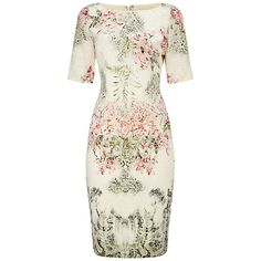 Buy Adrianna Papell Short Sleeve Border Print Sheath Dress, Ivory/Multi Online at johnlewis.com