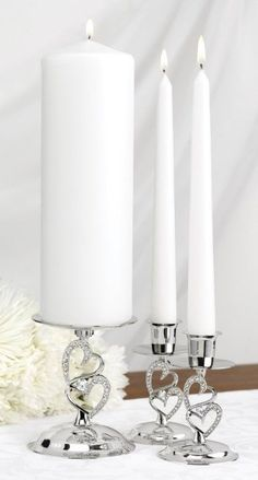 Wedding Accessories Nickel-Plates Sparkling Love Candle Stands Set of 3
