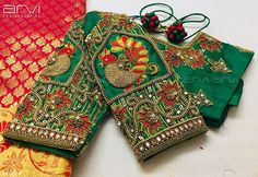 Embroidery for classy lovers Peacock Blouse Designs, Cutwork Blouse Designs, Wedding Saree Blouse Designs, Pattu Saree Blouse Designs, Half Saree Designs, Kurti Neck Designs, Fancy Blouse Designs, Sleeve Designs, Wedding Blouses